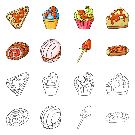 Vector illustration of confectionery and culinary icon. Collection of confectionery and product stock symbol for web.