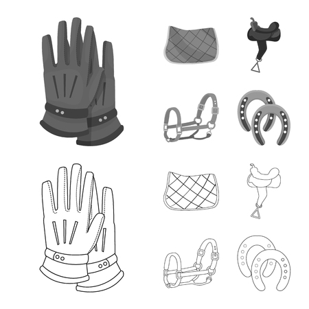 Vector design of equipment and riding sign. Set of equipment and competition stock symbol for web. Illustration