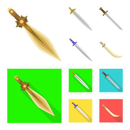 Isolated object of game  and armor  sign. Collection of game  and blade  stock vector illustration.