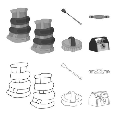 Vector illustration of equipment and riding logo. Collection of equipment and competition stock vector illustration.