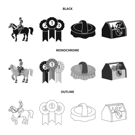 Isolated object of equipment and riding sign. Collection of equipment and competition vector icon for stock. Ilustração