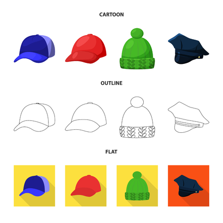 Vector illustration of clothing and cap icon. Set of clothing and beret stock vector illustration. Illustration