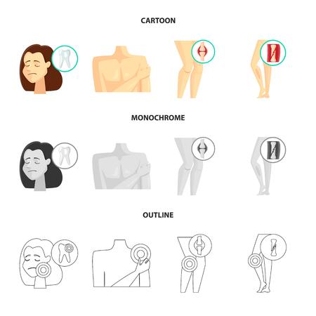 Vector design of hospital and rendering symbol. Collection of hospital and help vector icon for stock. Çizim