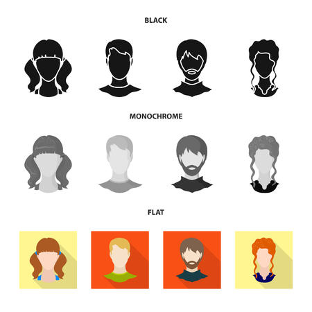 Isolated object of professional and photo icon. Collection of professional and profile stock symbol for web. Vettoriali