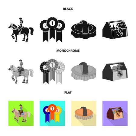 Vector design of equipment and riding symbol. Collection of equipment and competition stock vector illustration.