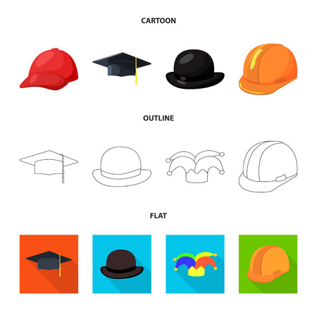 Vector illustration of clothing and cap icon. Set of clothing and beret stock symbol for web. Иллюстрация