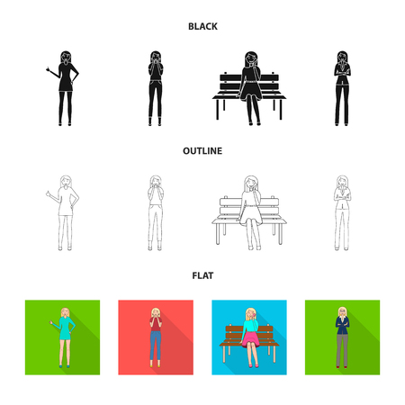 Isolated object of posture and mood symbol. Set of posture and female stock symbol for web.