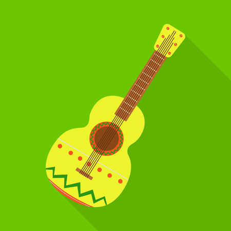 Vector design of guitar  and ornament  sign. Collection of guitar  and folk stock vector illustration.