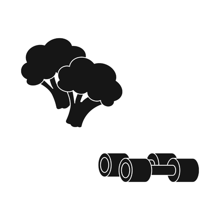 Vector illustration of broccoli  and vegetable icon. Set of broccoli  and green vector icon for stock.  イラスト・ベクター素材