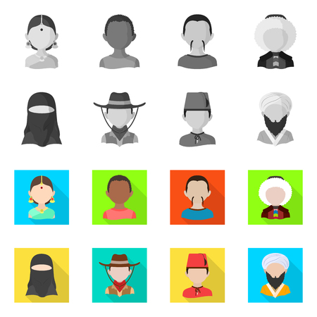 Isolated object of imitator and resident icon. Set of imitator and culture stock vector illustration.