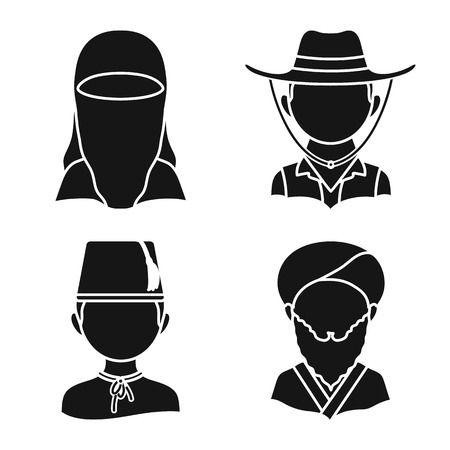 Isolated object of person and culture symbol. Set of person and race vector icon for stock.