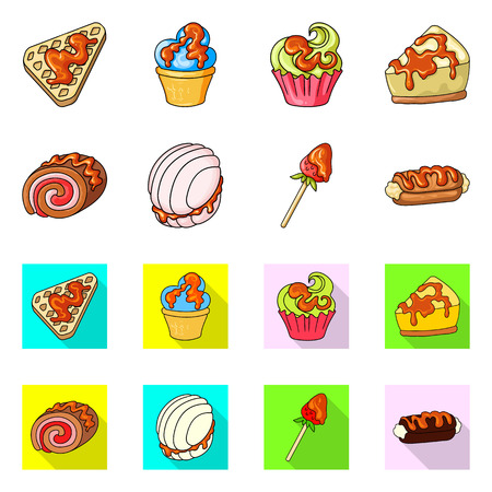 Vector design of confectionery and culinary logo. Set of confectionery and product vector icon for stock.