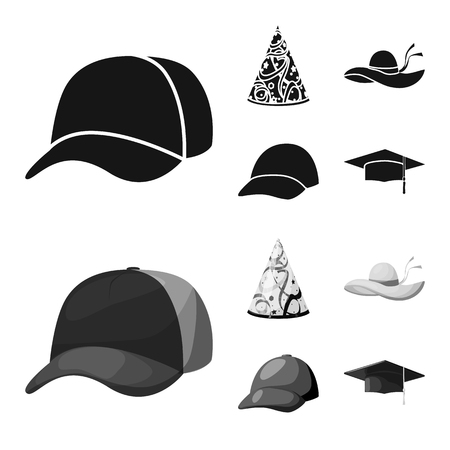 Vector illustration of clothing and cap icon. Set of clothing and beret stock symbol for web. Vettoriali