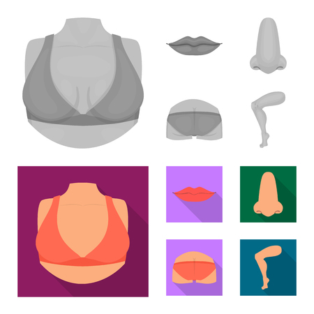Isolated object of body and part logo. Set of body and anatomy vector icon for stock.