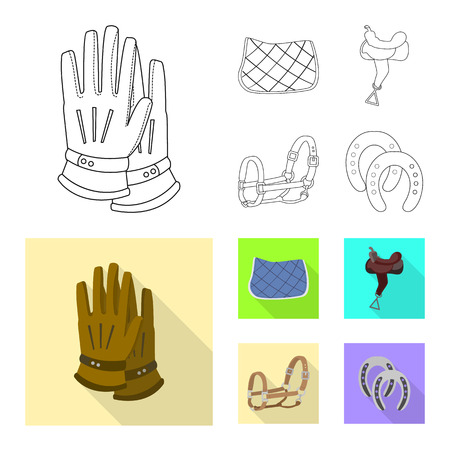 Vector illustration of equipment and riding sign. Set of equipment and competition vector icon for stock. Vettoriali