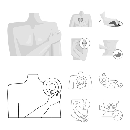 Isolated object of hospital and rendering sign. Collection of hospital and help vector icon for stock. Illustration
