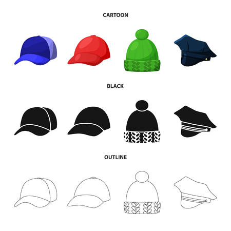 Vector design of clothing and cap symbol. Collection of clothing and beret stock symbol for web. Illustration