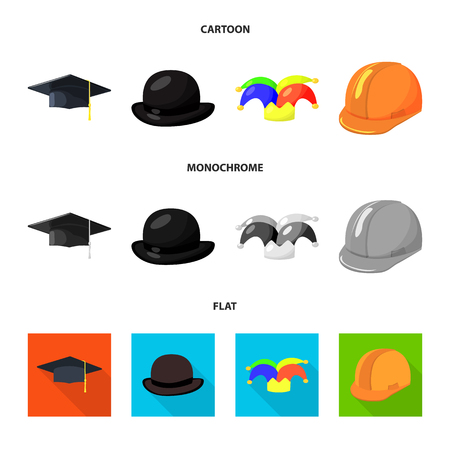 Isolated object of clothing and cap icon. Set of clothing and beret stock vector illustration. Vectores