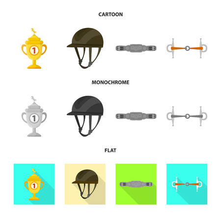 Isolated object of equipment and riding symbol. Set of equipment and competition stock vector illustration. 矢量图像