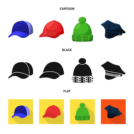 Isolated object of clothing and cap logo. Set of clothing and beret vector icon for stock.