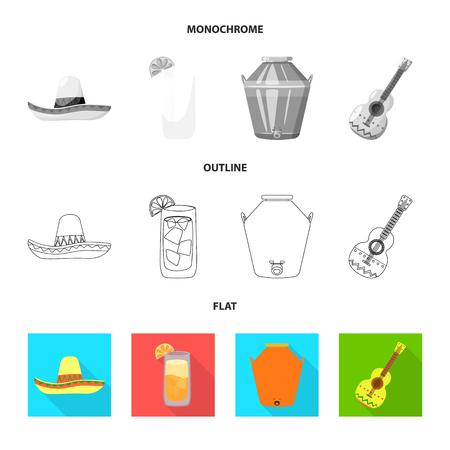Vector illustration of cafe and Latin logo. Set of cafe and national vector icon for stock. Illustration