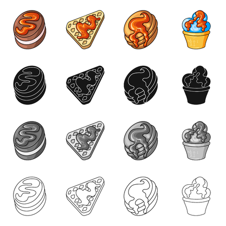 Vector illustration of confectionery and culinary . Set of confectionery and product stock vector illustration.