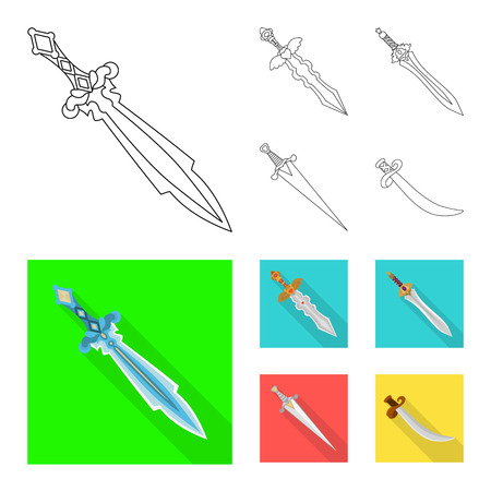 Isolated object of game  and armor  icon. Collection of game  and blade  stock vector illustration.