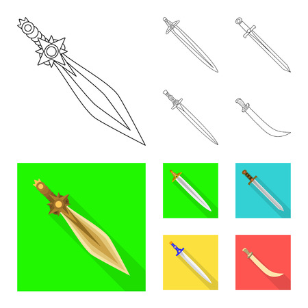 Vector illustration of game  and armor  logo. Set of game  and blade  vector icon for stock.