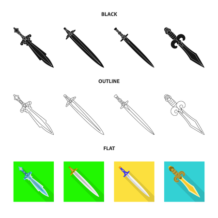 Isolated object of game and armor icon. Set of game and blade stock vector illustration.
