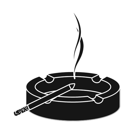 Vector design of ashtray and glass symbol. Set of ashtray and filter stock symbol for web.