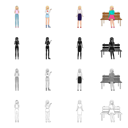 Vector illustration of posture and mood sign. Collection of posture and female stock vector illustration. 일러스트