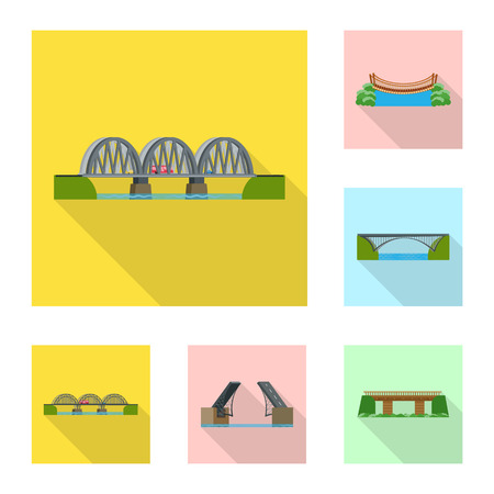 Isolated object of bridgework and bridge symbol. Collection of bridgework and landmark vector icon for stock.  イラスト・ベクター素材