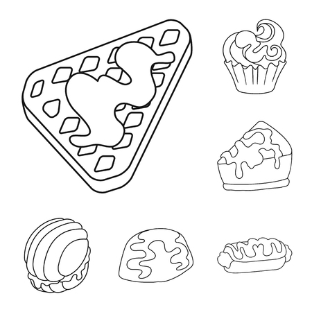 Isolated object of sweet and product sign. Collection of sweet and caramel vector icon for stock.