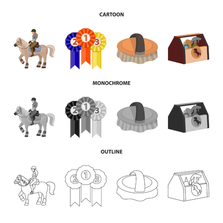 Isolated object of equipment and riding icon. Set of equipment and competition stock symbol for web. Çizim