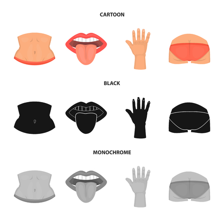 Vector design of body and part icon. Collection of body and anatomy stock vector illustration. Ilustração