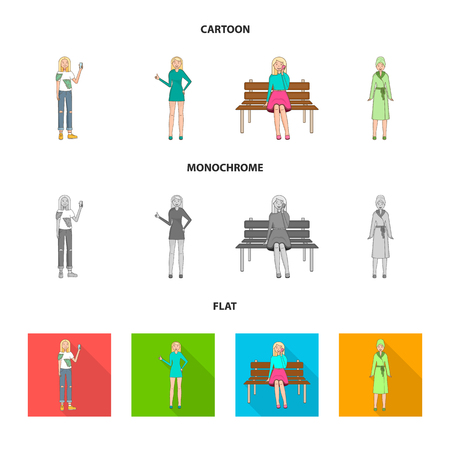 Isolated object of posture and mood icon. Collection of posture and female stock vector illustration.