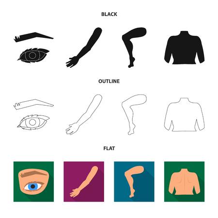 Objeto aislado de cuerpo y signo de parte. Conjunto de símbolo de stock de cuerpo y anatomía para web. Ilustración de vector