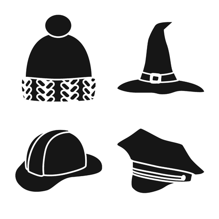 Isolated object of beanie  and beret icon. Collection of beanie  and napper stock symbol for web. Illustration