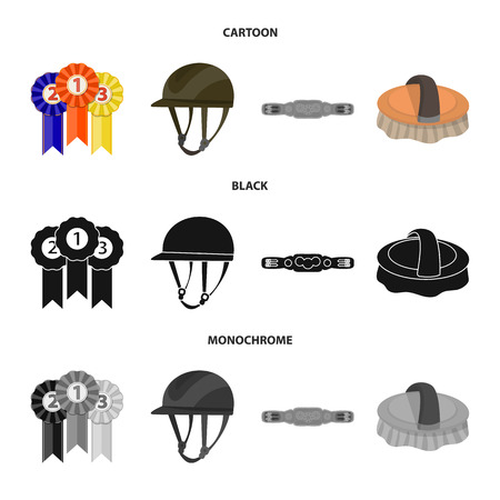 Isolated object of equipment and riding symbol. Collection of equipment and competition vector icon for stock. Vettoriali