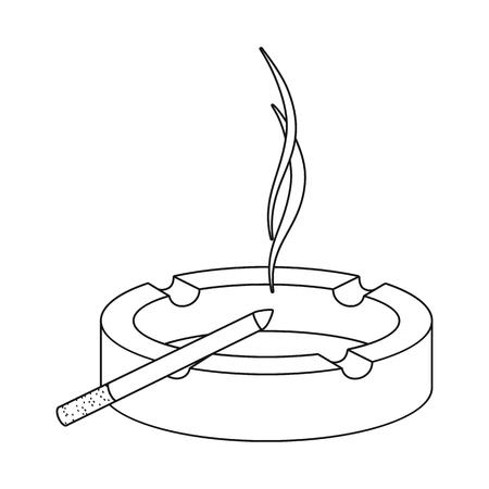 Isoliertes Objekt aus Aschenbecher und Glasschild. Satz Aschenbecher und Filtervorrat-Vektorillustration.