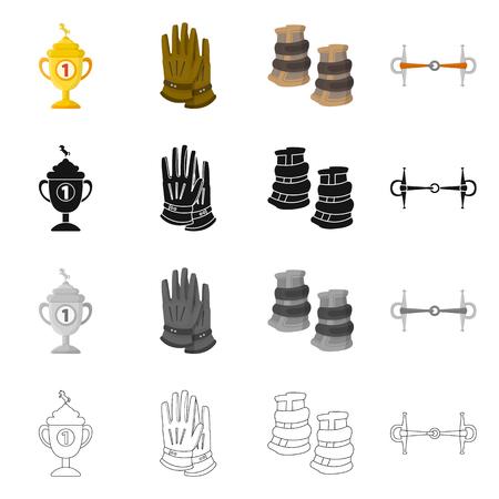 Vector design of equipment and riding icon. Set of equipment and competition stock vector illustration. Ilustração