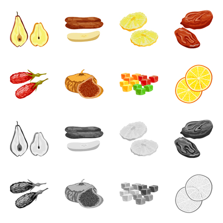 Isolated object of food  and raw  logo. Collection of food  and nature   stock symbol for web. Illustration