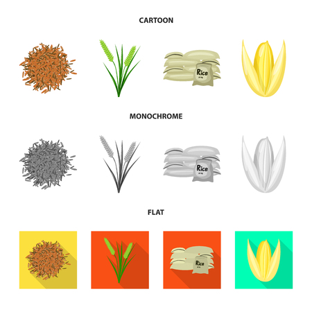 Vector illustration of crop and ecological symbol. Set of crop and cooking stock symbol for web.