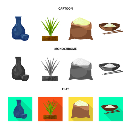 Isolated object of crop and ecological icon. Collection of crop and cooking stock symbol for web. Illusztráció