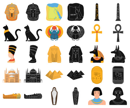 Ancient Egypt cartoon,black icons in set collection for design. The reign of Pharaoh vector symbol stock web illustration.