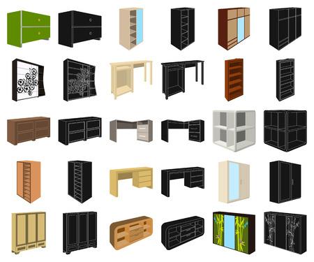 Mobili camera da letto cartoon,icone nere in insieme di set per il design. Illustrazione isometrica delle azione di simbolo di vettore della mobilia di legno moderna. Vettoriali