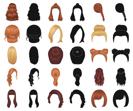 Female hairstyle cartoon,black icons in set collection for design. Stylish haircut vector symbol stock  illustration.