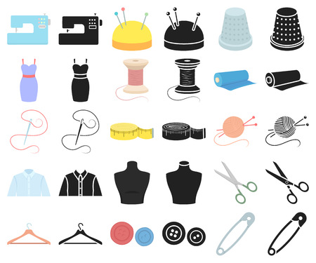Atelier and sewing cartoon,black icons in set collection for design. Equipment and tools for sewing vector symbol stock  illustration.