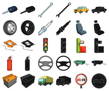 Car, vehicle cartoon,black icons in set collection for design. Car and equipment vector symbol stock  illustration.