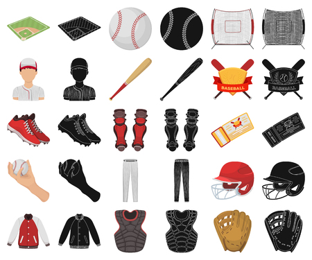 Baseball and attributes cartoon,black icons in set collection for design.Baseball player and equipment vector symbol stock web illustration.
